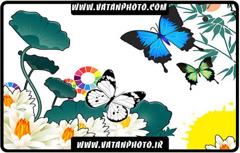 طرح لایه باز از گل و پروانه با کیفیت بالا+ psd
