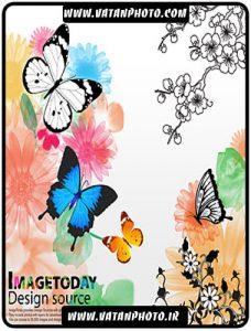 طرح زیبا و جذاب از گلبوته و پروانه به صورت کاملا لایه باز