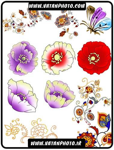 طرح لایه باز گل و پروانه با رنگ های شاد+ psd
