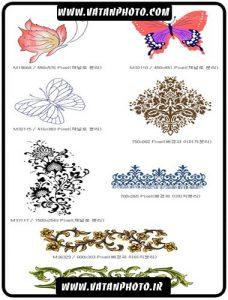 طرح پروانه و حاشیه گرافیکی و اسلیمی + psd