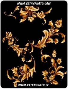 طرح زیبا از گل طلایی برای حاشیه صفحه+psd