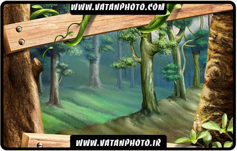 طرح گرافیکی فوق العاده زیبا از جنگل با فرمت psd
