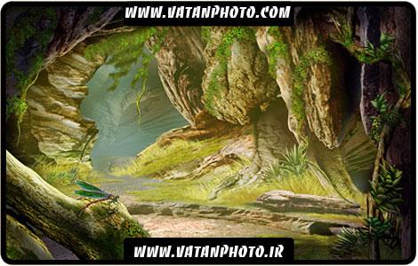 طرح گرافیکی از درون غار و جنگل کاملا لایه باز+ psd