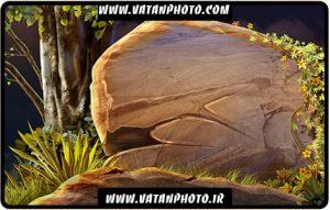 طرح گرافیکی از تخته سنگ در جنگل با فرمت psd