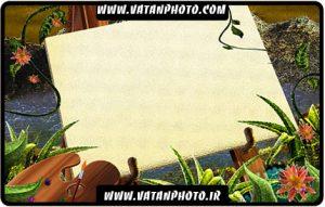 طرح گرافیکی از تابلو نقاشی در جنگل کاملا لایه باز+ psd