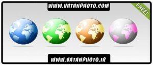 4 طرح رنگی و کروی از کره زمین کاملا لایه باز+ psd