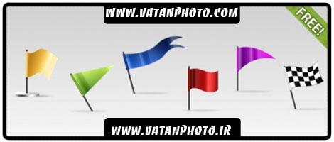 مجموعه آیکن از پرچم های سه بعدی در سایز های مختلف+ psd