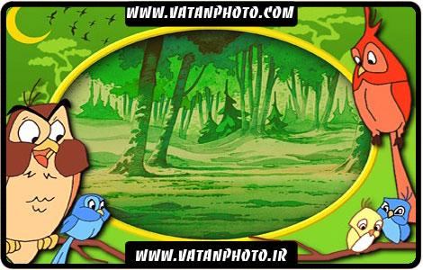 قاب عکس سبز طوطی های کارتونی کودکانه+ psd