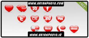 مجموعه آیکن سایت های بزرگ به شکل قلب قرمز+ psd
