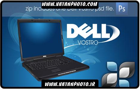 طرح کاملا لایه باز آبی و تبلیغاتی لپ تاپ DELL با فرمت psd