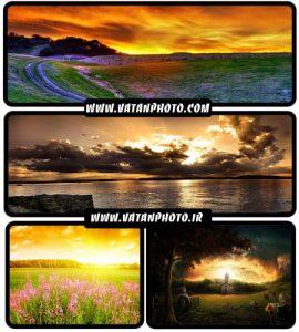 مجموعه عکس های غروب در طبیعت با کیفیت HD