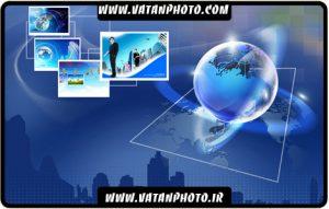 طرح سه بعدی تبلیغاتی جهان و تکنولوژی