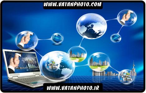طرح سه بعدی از حباب و تکنولوژی و بستن قرارداد
