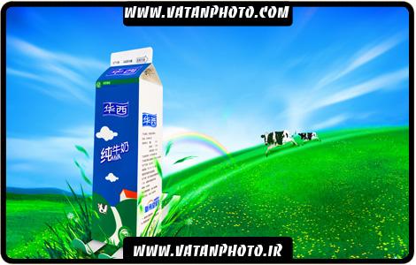 طرح تبلیغاتی شیر پاکتی لایه باز