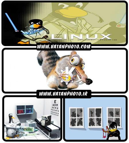 مجموعه والپیپرهای کارتونی با لوگوی لینوکس بر پایه ی Knoppicillin
