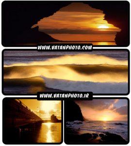مجموعه 23 عکس غروب خورشید در ساحل دریا+ wallpaper HD