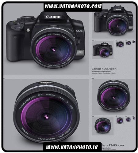آیکن دوربین Canon و لنز آن با فرمت PNG