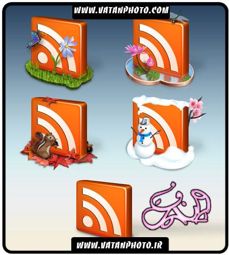 مجموعه 6 آیکن RSS فانتزی با فرمت PNG