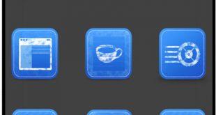 مجموعه آیکن مربع به رنگی آبی با فرمت PNG