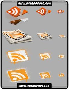 مجموعه 4 طرح از خوراک RSS با فرمت PNG