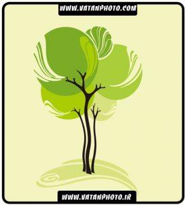 وکتور درخت فانتزی گرافیکی سبز