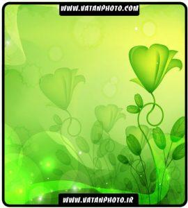 بک گراند گل فانتزی با رنگ سبز