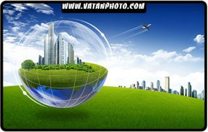 طرح سه بعدی ساختمان و کره زمین