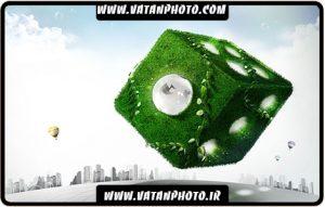طرح سه بعدی مکعب سبز