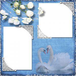 قاب عکس عاشقانه آبی با دو فرم