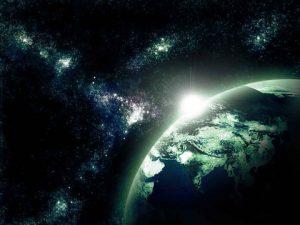 طرح لایه باز کره زمین و کهکشان psd