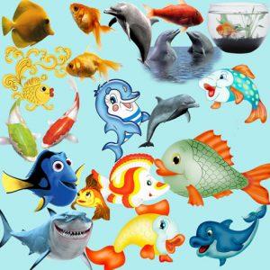 مجموعه آیکن ماهی و دلفین فانتزی واقعی