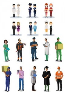 کاراکتر انسان در مشاغل گوناگون