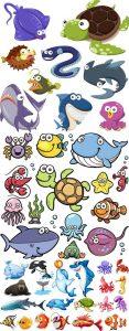 وکتور فانتزی موجودات دریایی