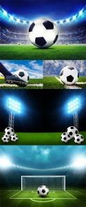 مجموعه تصاویر و عکس زمین فوتبال و توپ 7000x4861