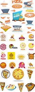 مجموعه آیکن کاراکتر پیتزا فروشی و فست فود AI و TIF