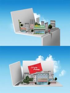 طرح سه بعدی طراحی ساختمان psd