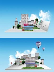 طرح لایه باز سه بعدی نمای شهر سازی psd
