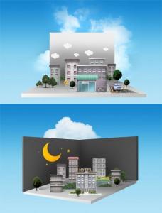 طرح لایه باز نمای شهر سازی سه بعدی psd