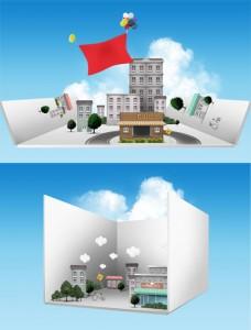 طرح سه بعدی آماده نمای شهر سازی psd