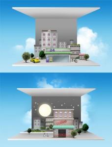 طرح نمای سه بعدی شهر سازی psd