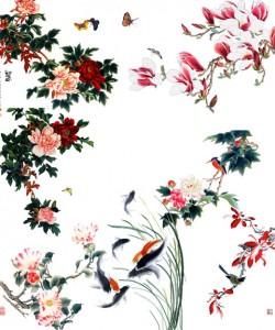 آیکن گل و ماهی نقاشی مینیاتوری psd