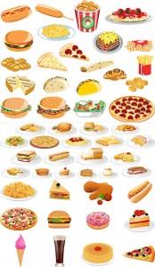 وکتور پیتزا و ساندویچ و فست فود