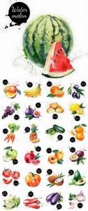 مجموعه آیکن میوه و سبزیجات ترانسپارنت