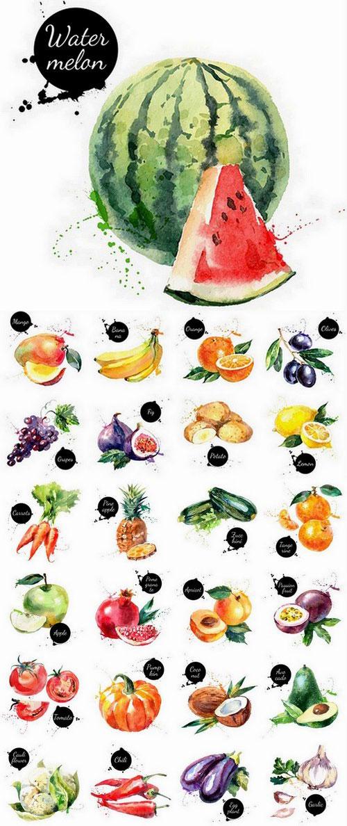 مجموعه آیکن میوه و سبزیجات ترانسپارنت eps