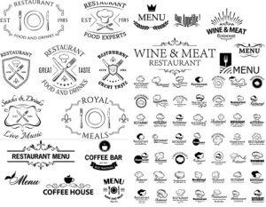 مجموعه لوگو رستوران و کلاه سرآشپز AI و TIF