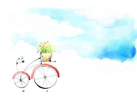 بکگراند فروشگاه دوچرخه و طراحی محیط سبز psd