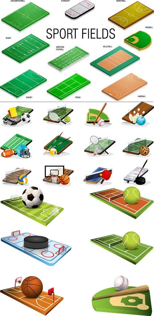 وکتور سه بعدی زمین های ورزشی AI و TIF