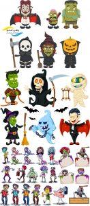 وکتور کارتونی هالووین AI و TIF