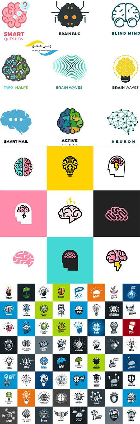 وکتور لوگو مغز و سر انسان AI و TIF