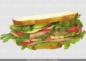 عکس بدون بکگراند ساندویچ پنیر کالباس